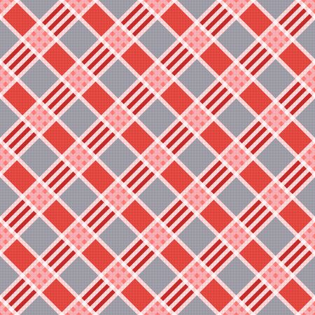 scot: Diagonal seamless vector pattern as a tartan plaid mainly in pink an gray trendy hues