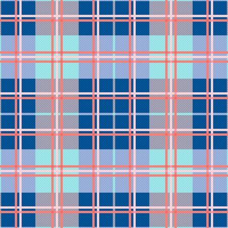 modish: Rectangular seamless vector pattern as a tartan plaid mainly in blue and pink trendy hues
