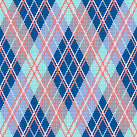 scot: Rhombic seamless vector pattern as a tartan plaid mainly in blue and pink trendy hues
