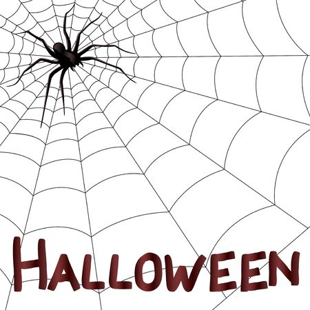 halloween ugly: Big dark horrifying spider on the web, hand drawing Halloween vector artwork Illustration