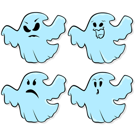 wicked set: Angry, funny, sad and astonished flying ghosts isolated on a white background, cartoon Halloween vector illustration