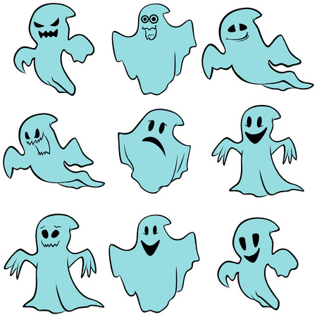 nightly: Set of nine blue flying ghosts with various characters isolated on a white background, cartoon Halloween vector illustration