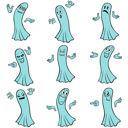 wicked set: Set of nine blue ghosts with various characters isolated on a white background, cartoon Halloween vector illustration Illustration