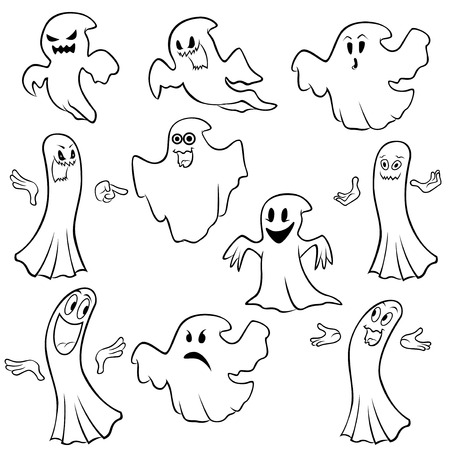 Set of ten ghost outline with various characters isolated on a white background, cartoon Halloween vector illustration Illustration