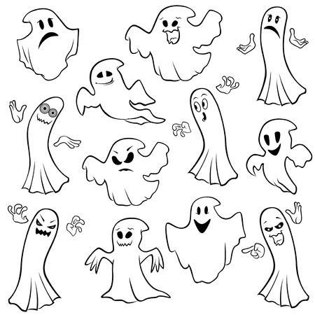 wicked set: Set of twelve ghost outline with various characters isolated on a white background, cartoon Halloween vector illustration Illustration