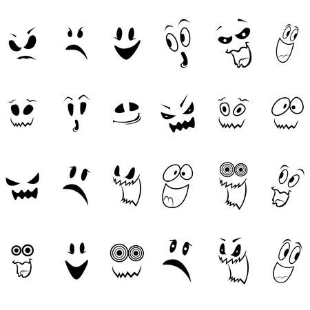 wicked set: Set of twenty four ghosts faces outline with various characters isolated on a white background, cartoon Halloween vector illustration