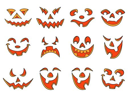 grimaces: Set of twelve smiles and grimaces of Halloween pumpkins isolated on a white background, cartoon vector illustration