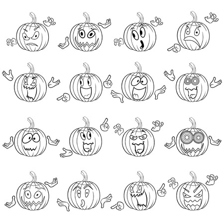 grimace: Halloween set of sixteen funny pumpkin outlines that gesticulating with hand and grimace isolated on a white background, cartoon vector illustration Illustration