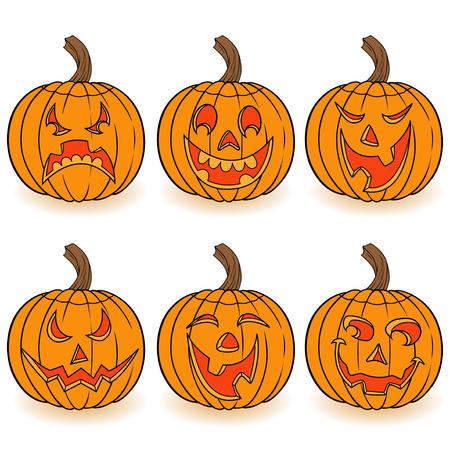Halloween Satz von sechs lustigen lächelnden orange Kürbisse mit verschiedenen Gesichts Zeichen isoliert auf einem weißen Hintergrund, Cartoon-Vektor-Illustration