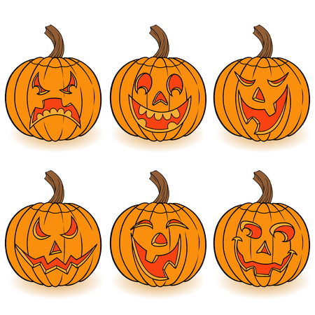 Halloween set of six funny smiling orange pumpkins with various face characters isolated on a white background, cartoon vector illustration