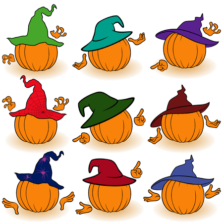gesticulate: Halloween set of nine orange pumpkins in color hats that gesticulate with hands, view from the back, isolated on the white background cartoon vector illustrations