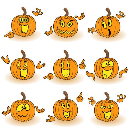 Halloween set of nine amusing orange pumpkins with various face characters that gesticulating with hand and grimace isolated on white background, cartoon vector illustration Illustration