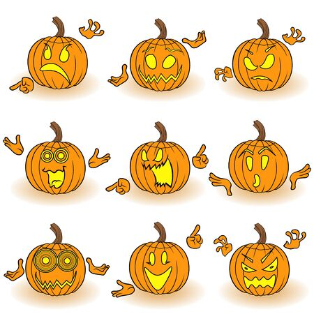 grimace: Halloween set of nine orange pumpkins with various face characters that gesticulating with hand and grimace isolated on white background, cartoon vector illustration Illustration