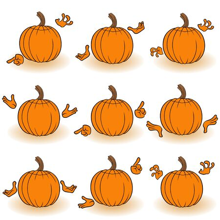 gesticulate: Halloween set of orange pumpkins that gesticulate with hands, view from the back, isolated on the white background cartoon vector illustrations