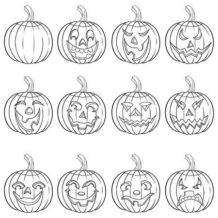 calabaza caricatura: Halloween conjunto de seis calabaza sonriente divertida describe con varios personajes de la cara aislados en un fondo blanco, ilustración vectorial de dibujos animados Vectores