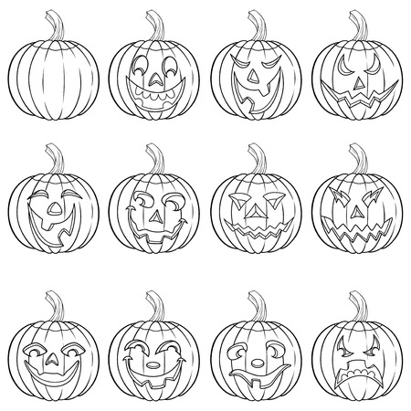 Halloween set of six funny smiling pumpkin outlines with various face characters isolated on a white background, cartoon vector illustration