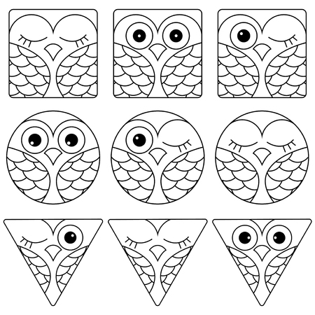 triangular eyes: Set of nine funny black and white owl faces placed in geometric shapes: square, circle and triangular and isolated on a white background, cartoon vector outline as icons Illustration