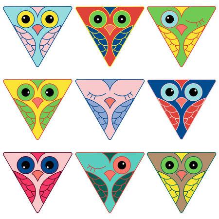 triangular eyes: Set of nine funny colored owl faces placed in triangular shapes and isolated on a white background, cartoon vector illustration as icons
