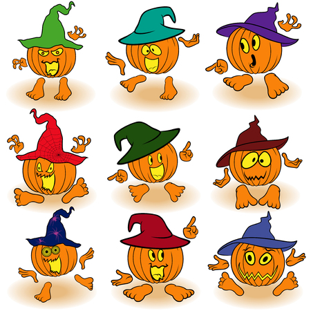 gesticulate: Halloween set of nine orange pumpkins in color hats that gesticulate with hands and feet isolated on the white background, cartoon vector illustrations