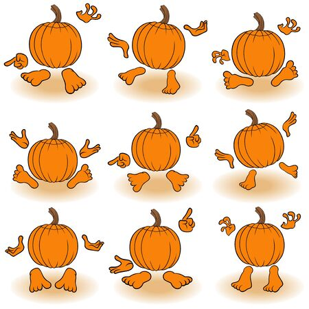 gesticulate: Halloween set of nine funny orange pumpkins that gesticulate with hands and feet, view from the back, isolated on the white background cartoon vector illustrations Illustration