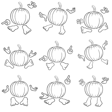 gesticulate: Halloween set of nine outlines of funny pumpkins that gesticulate with hands and feet, view from the back, isolated on the white background cartoon vector illustrations