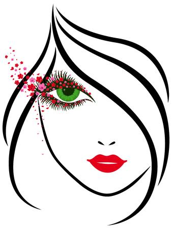 retrato de esquema abstracto de una hermosa joven con ojos encantadores alrededor de la cual una gran cantidad de pequeñas flores de colores