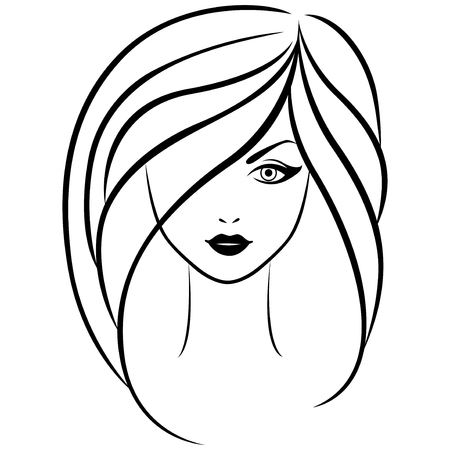 feminity: Abstract outline portrait of young beautiful girl with long hair