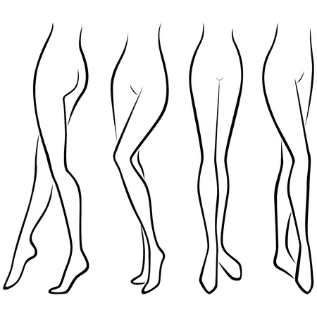 womanhood: Lower part of abstract graceful female body, set of four hand drawing vector black outlines over white