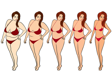 excess: Five stages of a woman on the way to lose weight, colorful vector illustration isolated on white background