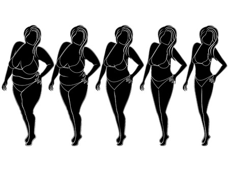 change size: Five stages of abstract woman on the way to lose weight, black and white vector silhouettes isolated on white background