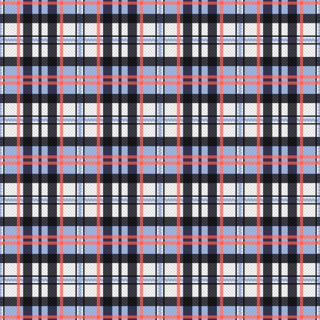 scot: Seamless rectangular vector pattern as a tartan plaid mainly in pink, blue and light grey colors