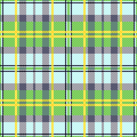 scot: Seamless rectangular vector pattern as a tartan plaid mainly in green, yellow and light blue colors
