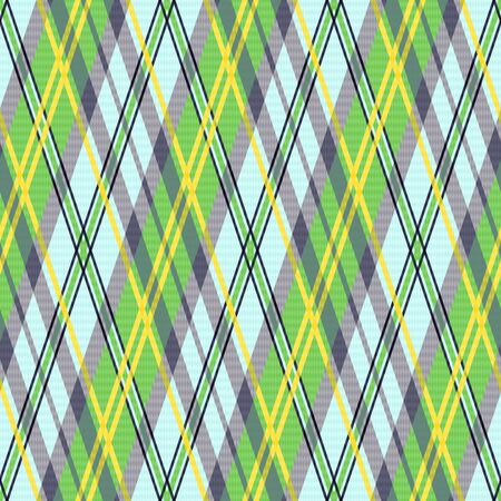 scot: Seamless rhombic vector pattern as a tartan plaid mainly in green, yellow and light blue colors