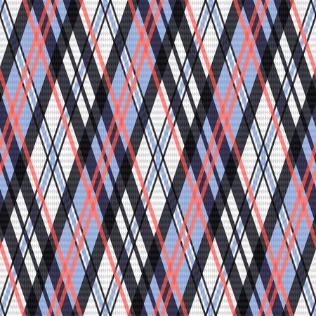 rhombic: Seamless rhombic vector pattern as a tartan plaid mainly in pink, blue and light grey colors Illustration