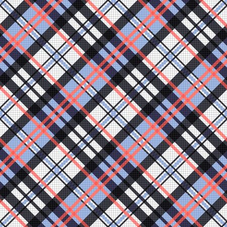 scot: Seamless diagonal vector pattern as a tartan plaid mainly in pink, blue and light grey colors
