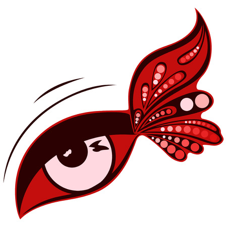 human eye: Human eye with colourful patterned butterfly wing on the outer eye corner, vector illustration isolated on a white background Illustration