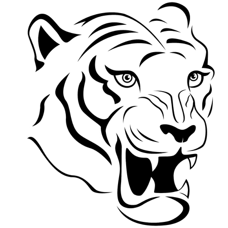 Aggressive tiger head close-up, hand drawing vector outline isolated on a white background Çizim