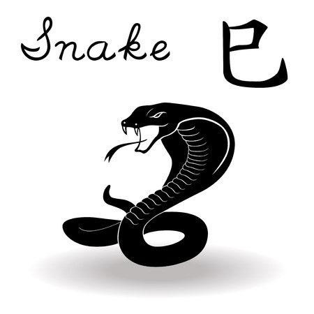 snake calendar: Chinese Zodiac Sign Snake, Fixed Element Fire, symbol of New Year on the Chinese calendar, hand drawn black vector stencil isolated on a white background Illustration