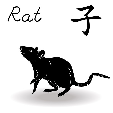 Chinese Zodiac Sign Rat, Fixed Element Water, symbol of New Year on the Chinese calendar, hand drawn black vector stencil isolated on a white background Illusztráció