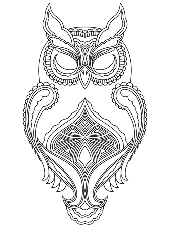 close eyes: Abstract outline of owl with close eyes, vector illustration isolated on a white background
