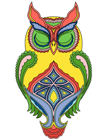 nightly: Colourful ornamental big owl with close eyes, vector illustration with ethnic motifs isolated on a white background Illustration