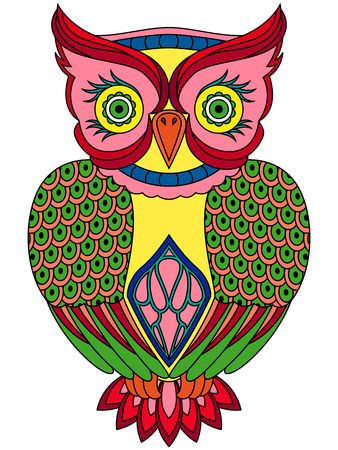pied: Colourful big serious owl, ornamental vector illustration with ethnic motifs isolated on a white background Illustration