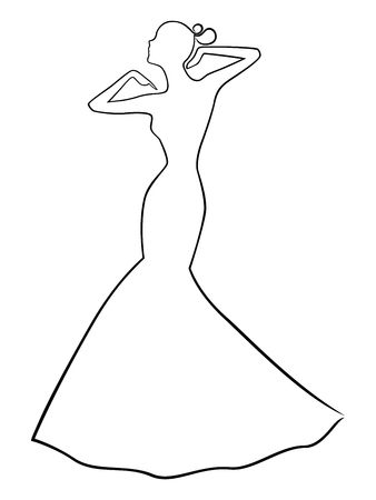 gown: Abstract stylish dreamy women posing in long fitted gown, vector outline