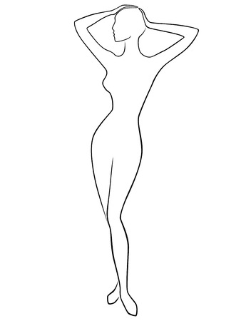 Abstract graceful slender female posing with hands on head, vector outline Illusztráció
