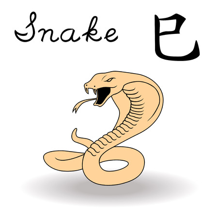 snake calligraphy: Eastern Zodiac Sign Snake, symbol of New Year in Chinese calendar, hand drawn vector artwork isolated on a white background