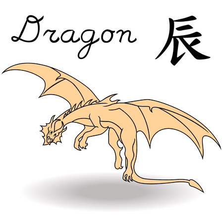 Eastern Zodiac Sign Dragon, symbol of New Year in Chinese calendar, hand drawn vector artwork isolated on a white background