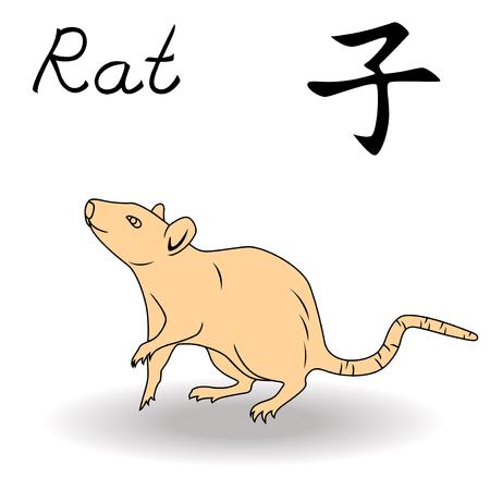 rata caricatura: Oriental de la rata muestra del zodiaco, símbolo del Año Nuevo en el calendario chino, dibujado a mano ilustraciones del vector aislado en un fondo blanco