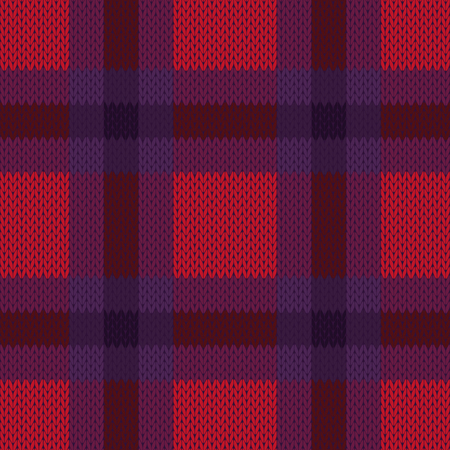 woollen: Knitting seamless checkered vector texture as a simple texture in red, pink, brown and violet colours