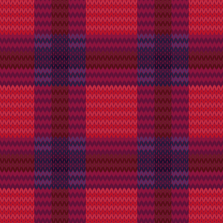 woollen: Knitting seamless checkered vector pattern as a simple texture in red, pink, brown and violet colours