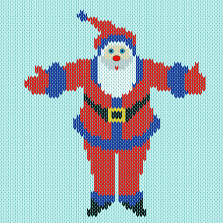 outstretched: Santa Claus standing with outstretched arms widely on a blue background, knitting vector pattern Illustration